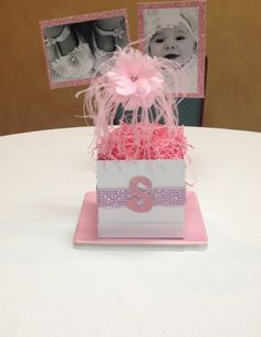 Baby Girl Christening Centerpiece - would make it blue