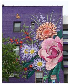 Murals Street Art, Graffiti Murals, Street Art Graffiti, Street Wall Art, Mural Wall Art, Mural Painting, Paintings, Flower Mural, Flower Graffiti