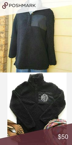 Brand New Black Sherpa Pullover Size small (0-4) Roomy & oversized fit  Button placket  Faux fur/polyester Jackets & Coats