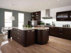 Modern Kitchen Design With Dark Brown Wood Cabinet And Beige Wood Floor