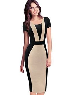 VfEmage Womens Elegant Colorblock Contrast Work Business Casual Pencil Dress 4027 APT 18 -- To view further for this item, visit the image link. Elegant Dresses, Cute Dresses, Beautiful Dresses, Short Dresses, Dresses For Work, Dress Outfits, Fashion Dresses, Dress Up, Bodycon Dress