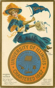 """University of Illinois"" ~ 1907 F. Earl Christy postcard, University Girls series...YAH for my alma mater!!"
