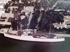 William K Vanderbilt Jr's yacht The Eagle docked at Fisher Island circa 1925