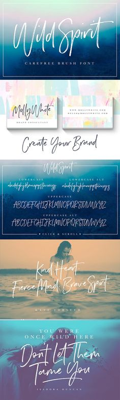 A carefree and untamed brush font with a natural flow. Handmade with long organic strokes, Wild Spirit isn't held back by any boundaries or expectations. It's the perfect choice for personal branding projects, handwritten quotes, homeware designs, product packaging - or simply as a modern & stylish text overlay to any background image.