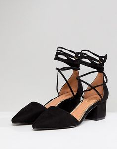 d82a8ccb426 RAID Lucky Black Ankle Tie Mid Heeled Shoes