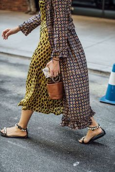 $100 Asymmetrical Mix Match Print Yellow Leopard Print Maxi Long Dress And Cute White And Black Detail Flat Sandals Simon Miller Little Brown Leather Bucket Hand Bag Spring Summer Street Style