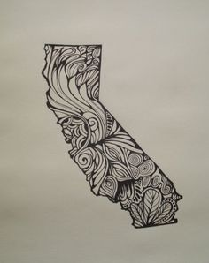 California Outline-bigger-Line Drawing on paper