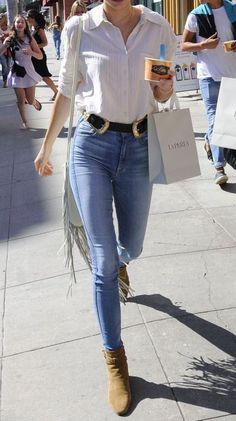 blouse + double buckle belt + denim