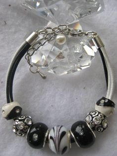 Beaded Bracele- Double strand Greek leather bracelet with Lampwork beads, rhinestones, European bead - 5.5 length with 1.5 extensionts -