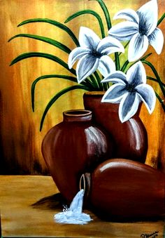 Flower Painting Canvas, Simple Canvas Paintings, Canvas Painting Tutorials, Diy Canvas Art, Flower Art Drawing, African Art Paintings, Nature Paintings, Oil Pastel Art, Oil Pastel Drawings