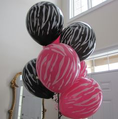 Zebra Print Party Balloons It's Your Birthday, 13th Birthday, 2nd Birthday Parties, Birthday Ideas, Zebra Print Party, Zebra Print Birthday, Zebra Nails, Dream Party, Sweet 16 Parties