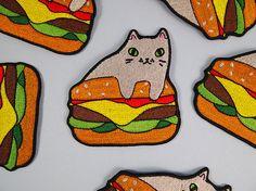Burger cat bordadas del remiendo - hierro en remiendo - cose en el remiendo - patch cat - gato de hierro en remiendo - como los gatos - gato de parche - burger - hamburguesa-