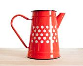 Lovely red white dots enamel kettle - French vintage Coffee pot or teapot - Retro home decor