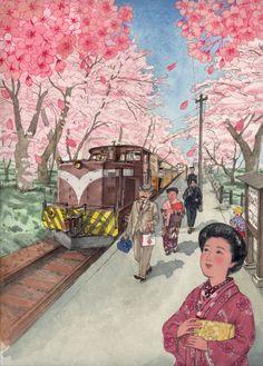 青森 金木桜祭り ポスター用イラスト By Mitsuko Onodera