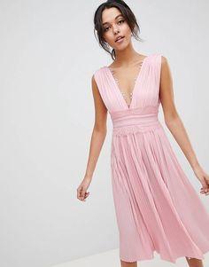ASOS DESIGN premium lace insert pleated midi dress Pink Midi Dress 5cfc33d2fbab