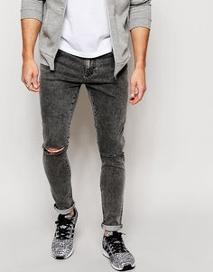 Brooklyn Supply Co Jeans Super Skinny Fit Acid Wash Black Ripped Knee