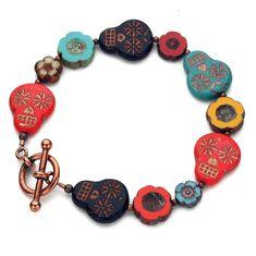 Gypsy Jewelry, Beaded Jewelry, Beaded Necklace, Sugar Skull Jewelry, Red Turquoise, Beaded Skull, Handmade Bracelets, Handmade Jewelry, Custom Jewelry Design
