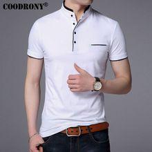 COODRONY Mandarina Cuello de Manga Corta Camiseta de Los Hombres 2017 de Primavera verano nuevo top men marca clothing slim fit camisetas de algodón S7645(China)