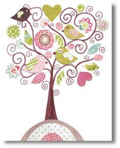 Nursery art print, nursery decor, baby nursery print, kids art, kids room decor, nursery wall art,,  Bird, Fantasy Tree 8x10 print