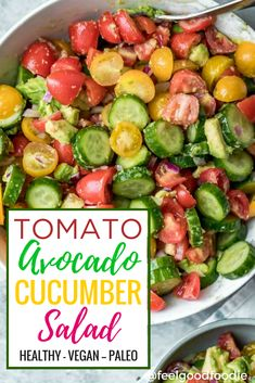 The perfect summer salad doesn't get any easier than this Tomato Avocado Cucumber Salad - made with only 4 simple ingredients and a flavorful red wine vinaigrette! It's quick, easy, healthy, low carb/paleo and packed with energy-boosting Vitamin C. Try it for lunch or as a side #eatgoodfeelgood #summer #salad