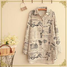 Popart Desen Pamuklu Gömlek