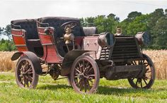 "1904 South Bend Surrey - Walter E. Mack of South Bend, Indiana purchased a Studebaker electric car, found that it didn't meet his expectations, and resolved to build a better car himself. He purchased a 219.9ci, 4 cyl. modified engine from the Buffalo Gasolene Motor Company, a 3 speed transmission & wheels w/ coiled springs  that radiate from the center allowing for a ""floating hub"" separate from the wheel. Mack died in 1906 not having produced another car. This one is in original condition."