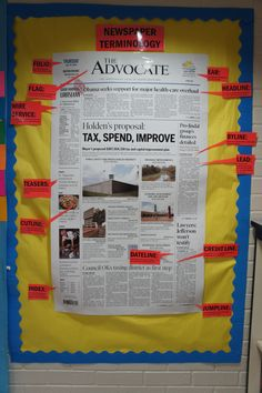 Parts of the Newspaper bulletin board or can be used for locating text features Teaching Writing, Teaching English, Teaching History, Writing Tips, School Newspaper, Just In Case, Just For You, Classroom Newsletter, Professor