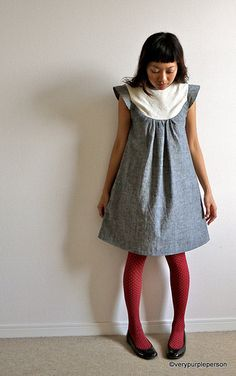 Love this cute dress pattern and the color combination of gray, white and red stockings.