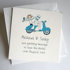 "Vespa Wedding ""Save The Date"" Card"