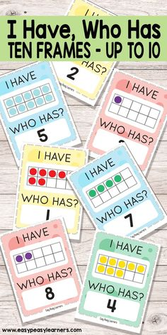 Learning 10 Frames through I Have Who Has card game. primaire I Have, Who Has Ten Frames up to 10 Game - Easy Peasy Learners Numbers Kindergarten, Numbers Preschool, Math Numbers, Teaching Kindergarten, Math Card Games, Numeracy Activities, Teaching Numbers, Kindergarten Math Activities, Dice Games