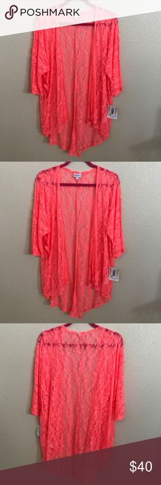 NWT Lularoe Lindsay Kimono Fluorescent orange lace Kimono. The color is stunning and so fun. The pictures don't do it justice. 92% nylon 8% spandex LuLaRoe Tops