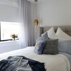 The Block Triple Threat: Room 1 Guest Bedroom Love the mix of pillows! Need to be softer in colour at Meydan Master Bedroom Design, One Bedroom, Home Decor Bedroom, Modern Bedroom, Bedroom Layouts, Bedroom Styles, The Block Room Reveals, Dream Rooms, Beautiful Bedrooms