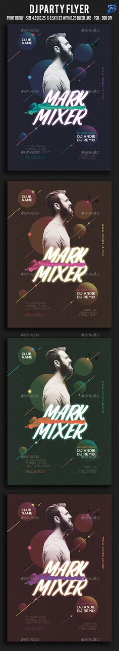 Dj Party Flyer — Photoshop PSD #festival #electro • Download ➝ https://graphicriver.net/item/dj-party-flyer/19400396?ref=pxcr
