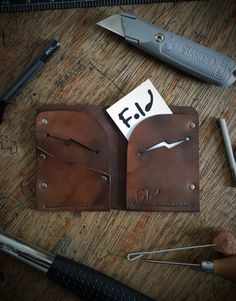 Handmade Leather Wallet, mens leather wallet, mid brown finish