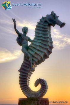 Puerto Vallarta es México. The Boy on the Seahorse, famous PV Sculpture on the Malecon.