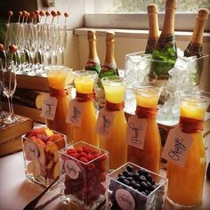 Wedding Drink Bar And Station Ideas That You'll Love - Bridal shower - Bar Mimosa, Bubbly Bar, Mimosa Brunch, Brunch Drinks, Bellini Bar, Mimosa Breakfast, Sangria Bar, Drink Bar, Bar Drinks