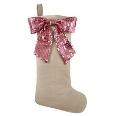 Christmas Stockings: Pink Sequin Bow Stocking in Naturally Refined Collection