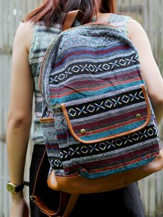 Grey Abstract tribal native design backpack/ School Bag/ Ethnic rucksack/ holiday bag / Hippie /Boho ethnic gypsy woven tapestry hobo bag