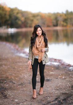 utility jacket + striped tunic tee + leggings // fall casual outfit idea by extra petite