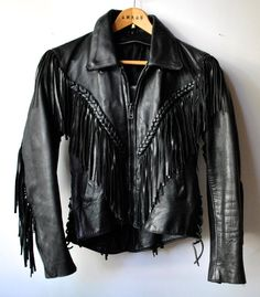 BLACK LEATHER JACKET with fringe braids and laces. by VOLCANICMOON