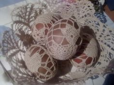 Easter eggs in lace bowl
