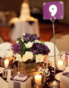 Purple Centerpieces & Table Numbers