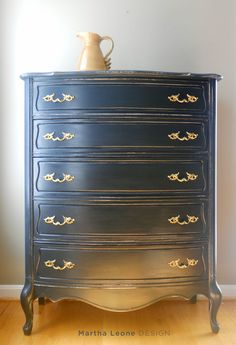 I love the colour of this dresser.    Blue french dresser from MarthaLeoneDesign.com