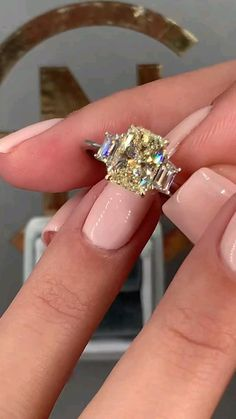 Radiant Engagement Rings, Yellow Engagement Rings, Engagement Ring Cuts, Vintage Engagement Rings, Different Engagement Rings, Expensive Engagement Rings, Engagement Jewellery, Most Beautiful Engagement Rings, Three Stone Engagement Rings