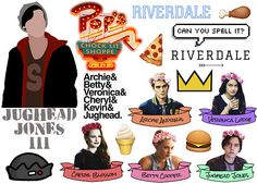 RIVERDALE stickers on the A4 sheet ♥ Jughead Jones Betty Cooper Archie Andrews Veronica Lodge Cheryl Blossom ♥ Ideal for smooth flat surfaces like iphone cases, laptops, journals, windows, walls etc. 3.99$
