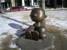 Charlie Brown and Snoopy statue in St. Paul, MN downtown