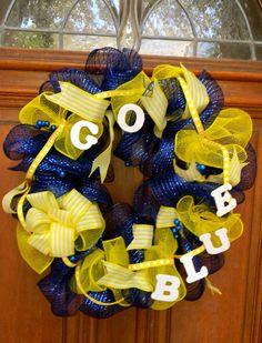 University of Michigan Deco Mesh Spirit Wreath  Go Blue by TheMeshyMama