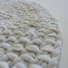 Upcycled White Oval Toothbrush Rug