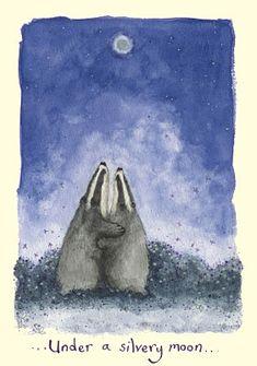 Under The Silvery Moon Fran Evans Badger Illustration, Illustration Art, Wild Creatures, Woodland Creatures, Digital Art Beginner, Honey Badger, Country Art, Pebble Painting, Baby Art