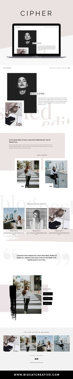 Cipher Squarespace Template by Big Cat Creative Website Design Inspiration, Website Design Layout, Layout Design, Web Layout, Layout Inspiration, Modern Web Design, Web Design Tips, Blog Design, Design Trends